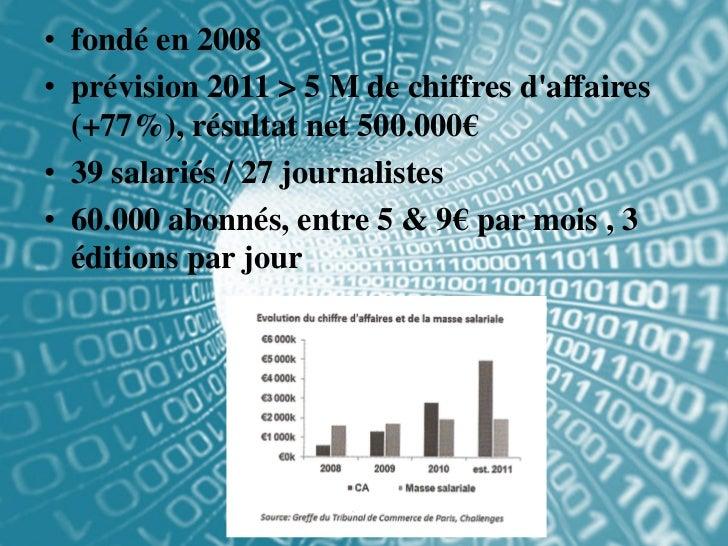 • fondé en 2008• prévision 2011 > 5 M de chiffres daffaires  (+77%), résultat net 500.000€• 39 salariés / 27 journalistes•...
