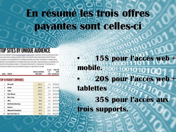 En résumé les trois offres payantes sont celles-ci          •     15$ pour l'accès web +          mobile.          •     2...
