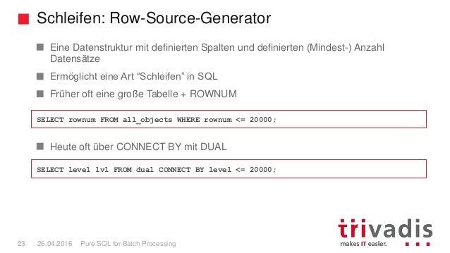 Schleifen: Row-Source-Generator Pure SQL for Batch Processing23 26.04.2016 Eine Datenstruktur mit definierten Spalten und ...
