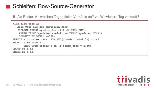 Schleifen: Row-Source-Generator Pure SQL for Batch Processing25 26.04.2016 Als Raster: An welchen Tagen fielen Verkäufe an...