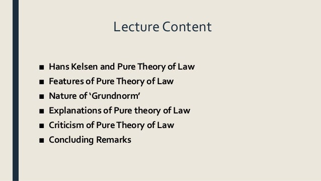 implication of pure theory of law