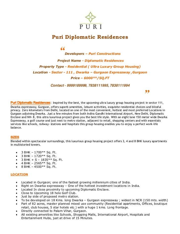 "Puri Diplomatic Residences                                     ""   Developers – Puri Constructions                        ..."