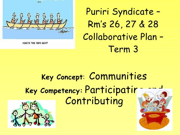 Puriri Syndicate – Rm's 26, 27 & 28 Collaborative Plan – Term 3 Key Concept :  Communities Key Competency:   Participating...