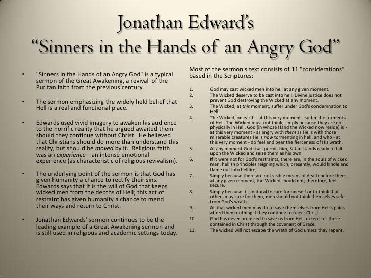 essay on jonathan edwardss sinners in the hands of an angry god