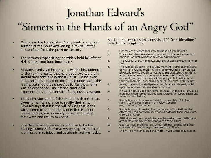 an analysis of the sermon from sinners in the hands of an angry god by jonathan edwards Once you have finished reading the sermon, use this self-assessment tool to test your knowledge over the piece.