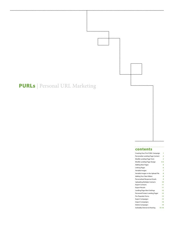 PURLs | Personal URL Marketing                                      contents                                  Creating You...