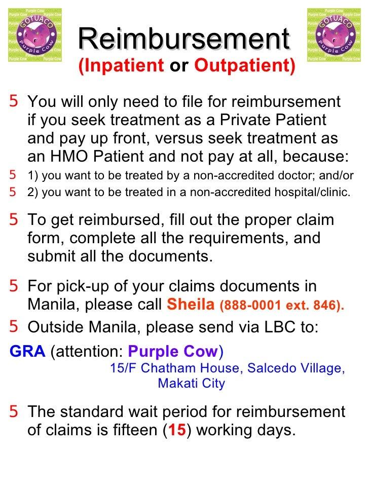 <ul><li>(Inpatient  or  Outpatient) </li></ul><ul><li>You will only need to file for reimbursement  if you seek treatment ...