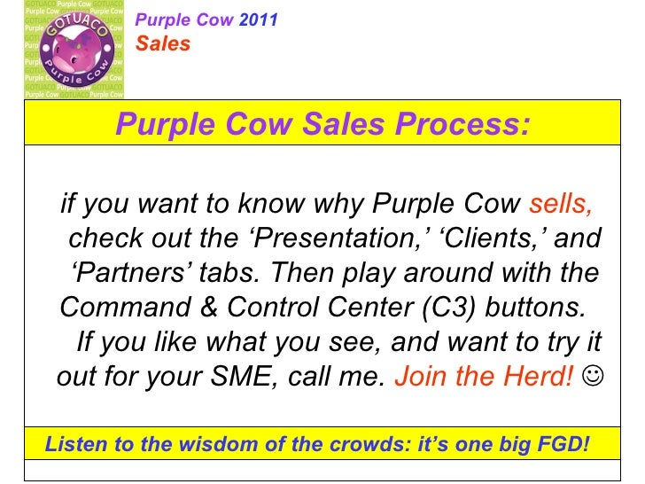 Purple Cow Sales Process: if you want to know why Purple Cow  sells,  check out the 'Presentation,' 'Clients,' and 'Partne...