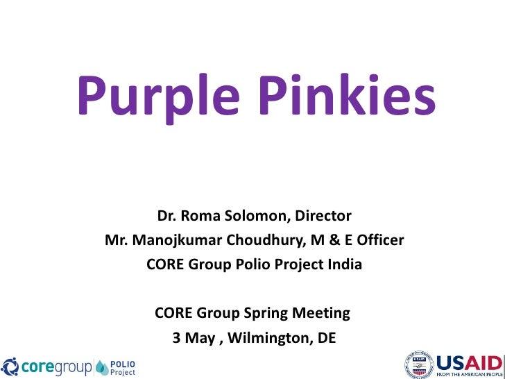 Purple Pinkies       Dr. Roma Solomon, Director Mr. Manojkumar Choudhury, M & E Officer      CORE Group Polio Project Indi...