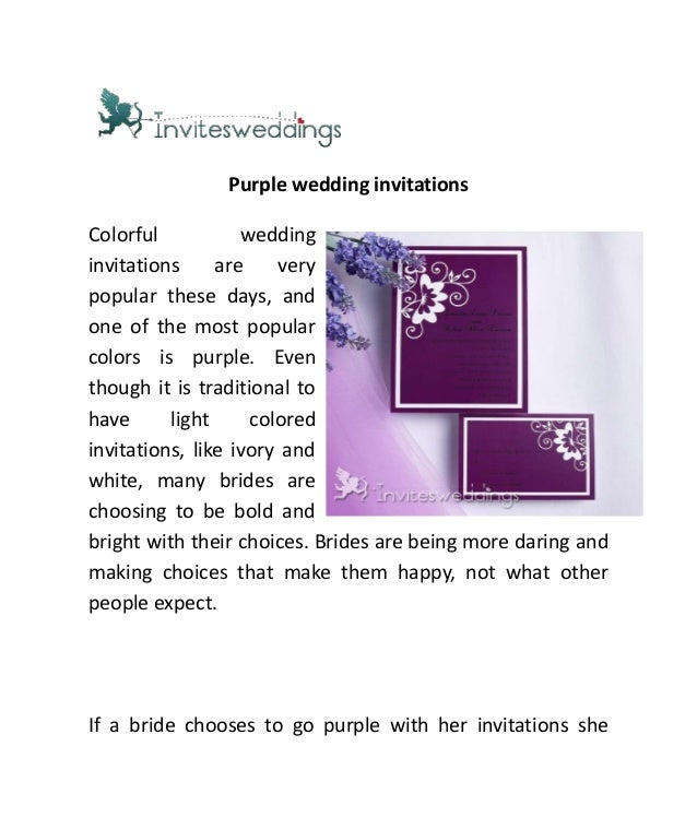 Purple wedding invitationsColorful weddinginvitations are verypopular these days, andone of the most popularcolors is purp...