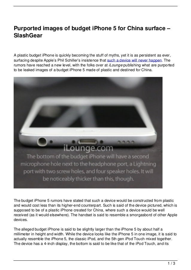 Purported images of budget iPhone 5 for China surface –SlashGearA plastic budget iPhone is quickly becoming the stuff of m...