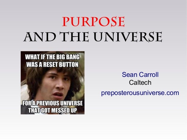 purposeand the universeSean CarrollCaltechpreposterousuniverse.com