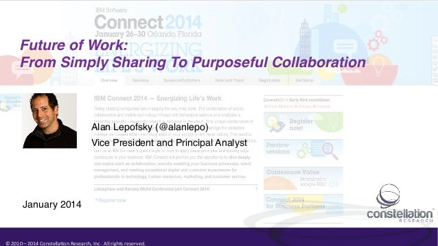 Future of Work: ! From Simply Sharing To Purposeful Collaboration!  Alan Lepofsky (@alanlepo)! Vice President and Principa...