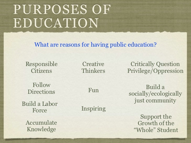"the true purpose of education So for now let's just put that aside, and sit down and think hard, really hard, about the true function, purpose, and practical applications of arts education so first of all, let's understand, there's a huge difference between ""crafts"" education and ""arts"" education."
