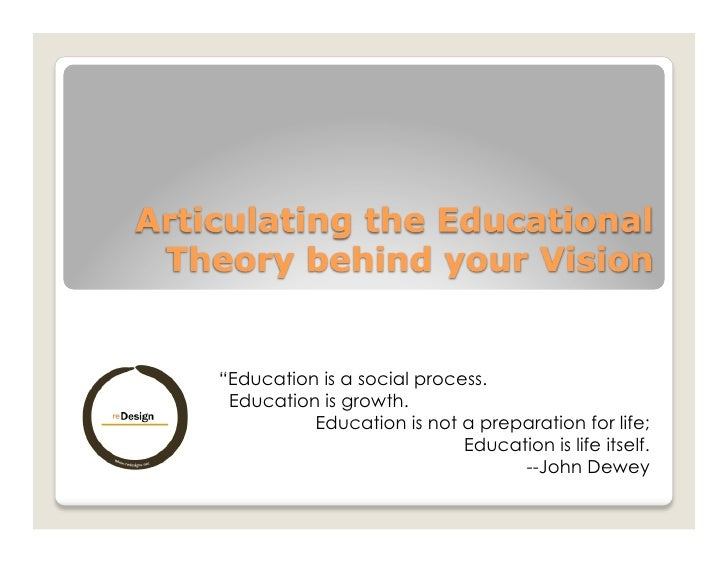 """""""Education is a social process.  Education is growth.           Education is not a preparation for life;                  ..."""