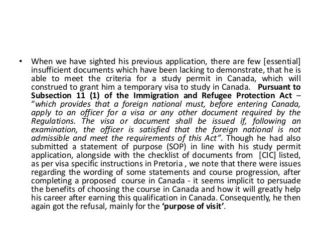 Purpose of visit for Study Permit in Canada Slide 3