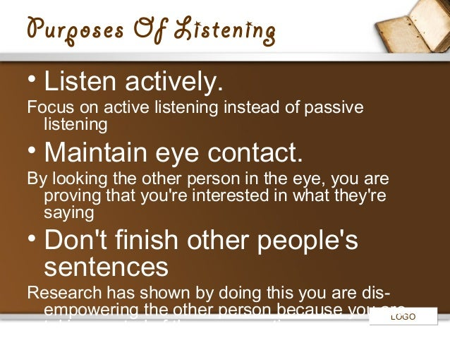 Listening has different purposes worksheets
