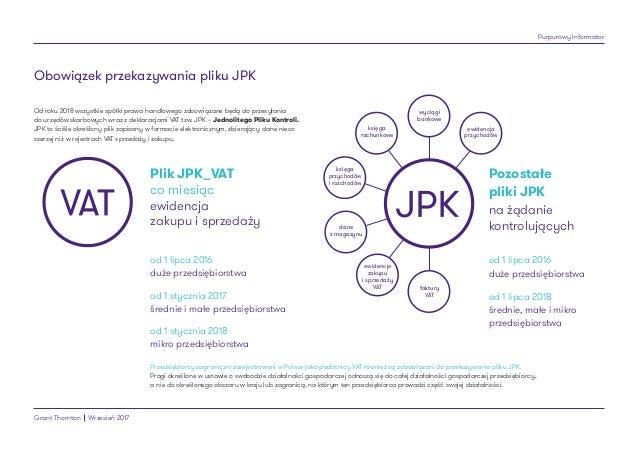 Purpurowy Informator Grant Thornton Wrzesień 2017 Obowiązek przekazywania pliku JPK od 1 lipca 2016 duże przedsiębiorstwa ...
