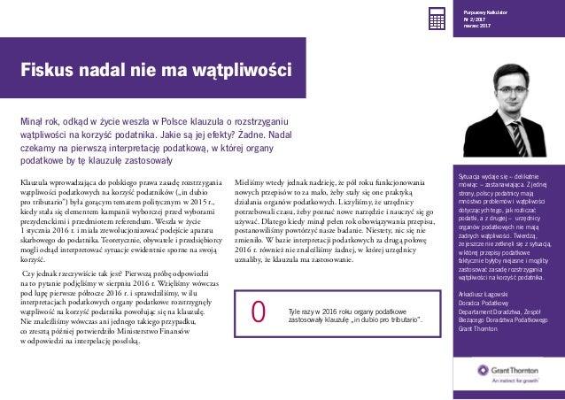 """Klauzula wprowadzająca do polskiego prawa zasadę rozstrzygania wątpliwości podatkowych na korzyść podatników (""""in dubio pr..."""