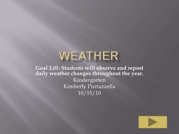 Goal 2.01: Students will observe and repostdaily weather changes throughout the year.               Kindergarten          ...