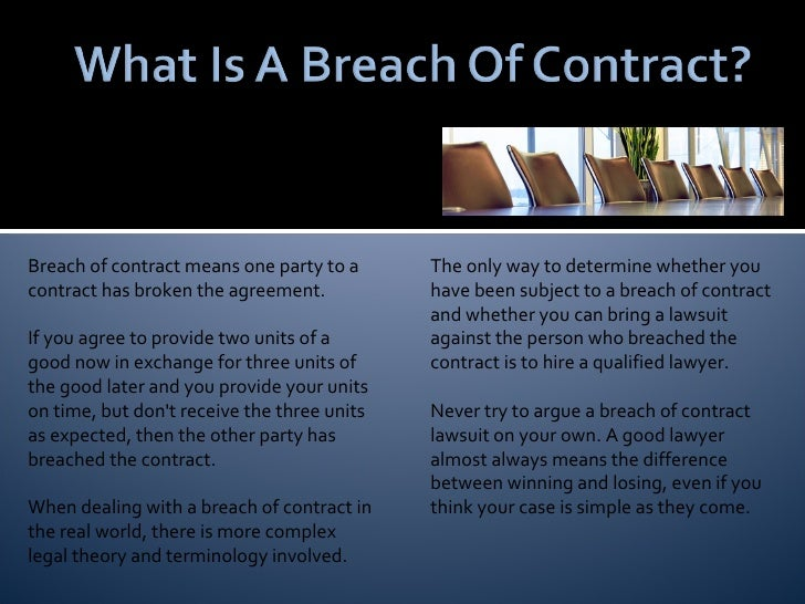 Breach Of Contract ...
