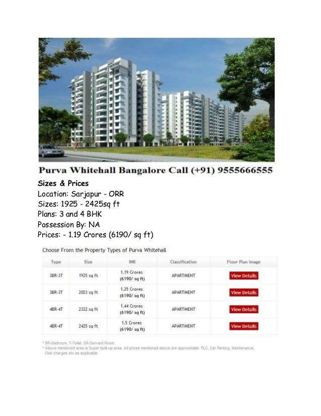 Purva Whitehall – Luxury Apartments in Bangalore Call 9555666555 Slide 2