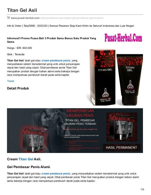 cream pembesar penis alami titan gel asli