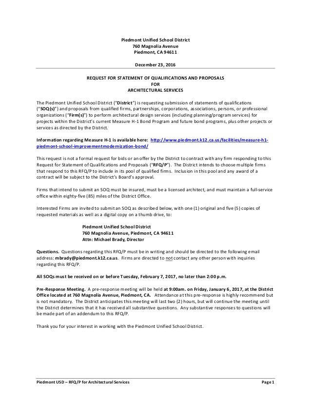 Gentil Piedmont USD U2013 RFQ/P For Architectural Services Page 1 Piedmont Unified  School District 760 ...