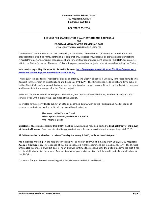 Piedmont USD – RFQ/P for CM-PM Services Page 1 Piedmont Unified School District 760 Magnolia Avenue Piedmont, CA 94611 DEC...