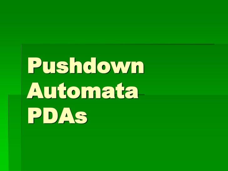PushdownAutomataPDAs