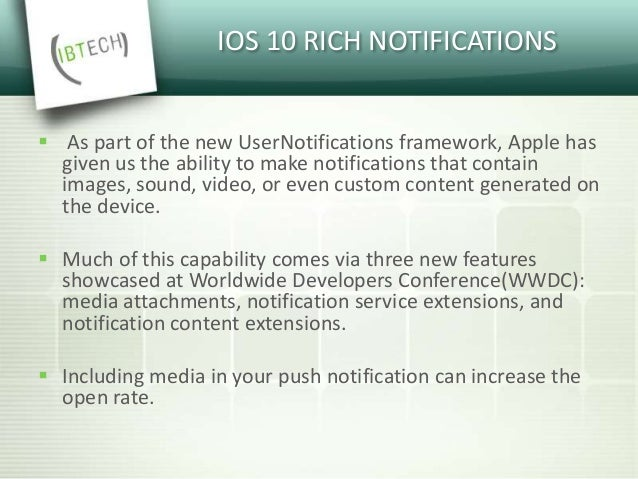 What's new in iOS 10 Notifications?  It is now possible to add images and gifs to notifications.  These images or gifs c...