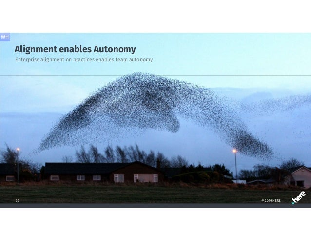 Alignment enables Autonomy © 2019 HERE20 Enterprise alignment on practices enables team autonomy WH