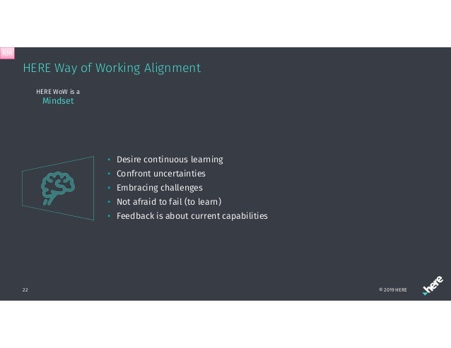 HERE Way of Working Alignment © 2019 HERE22 HERE WoW is a Mindset • Desire continuous learning • Confront uncertainties • ...