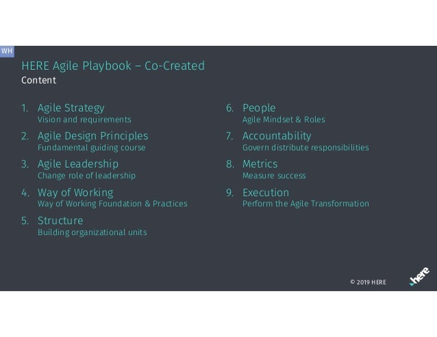 HERE Agile Playbook – Co-Created 1. Agile Strategy Vision and requirements 2. Agile Design Principles Fundamental guiding ...