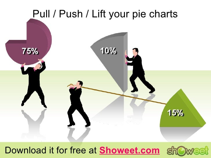 Pull / Push / Lift your pie charts Download it for free at  Showeet.com