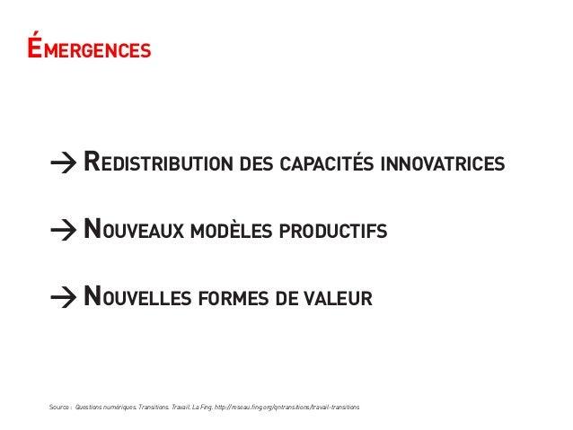 Émergences → Redistribution des capacités innovatrices → Nouveaux modèles productifs → Nouvelles formes de valeur Source :...