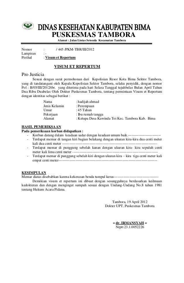 Contoh Surat Hasil Visum Et Repertum