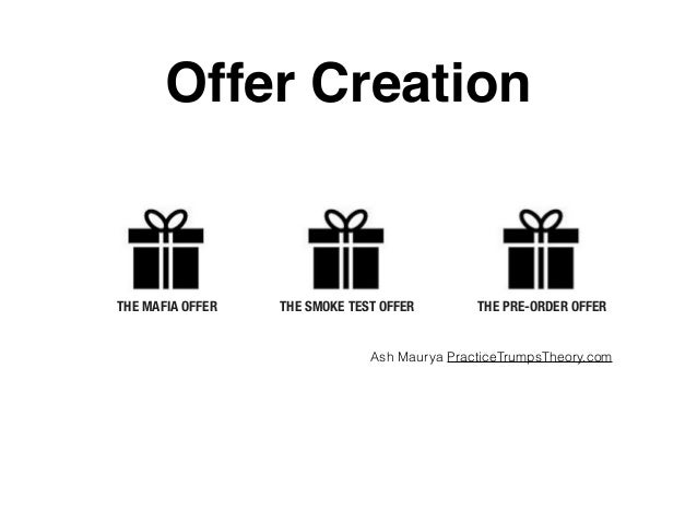 THE MAFIA OFFER THE SMOKE TEST OFFER THE PRE-ORDER OFFER Offer Creation Ash Maurya PracticeTrumpsTheory.com