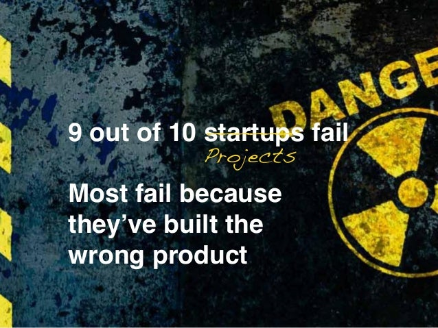 9 out of 10 startups fail Most fail because they've built the wrong product Projects ______