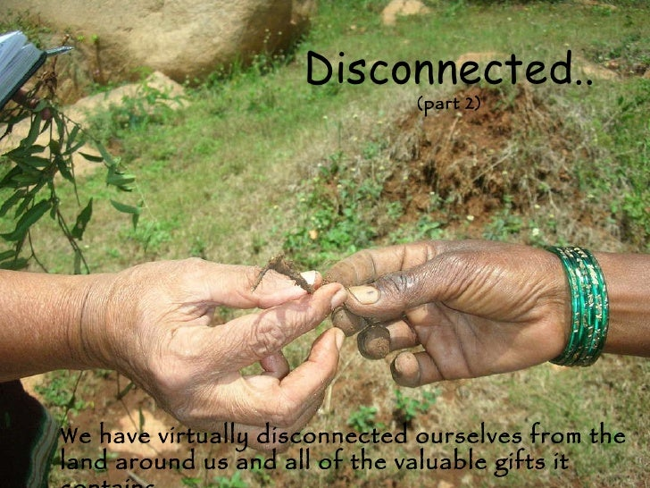We have virtually disconnected ourselves from the land around us and all of the valuable gifts it contains. Disconnected.....