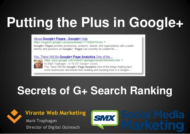 Putting the Plus in Google+  Secrets of G+ Search Ranking Virante Web Marketing Mark Traphagen Director of Digital Outreac...