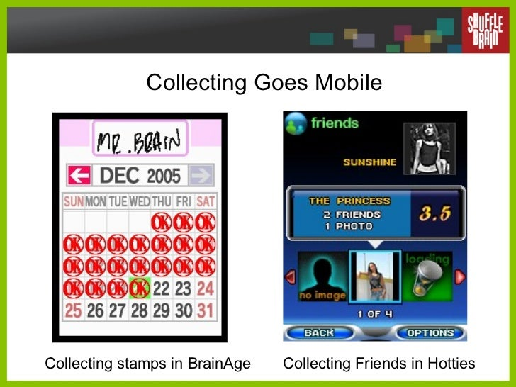 Collecting Goes Mobile Collecting stamps in BrainAge Collecting Friends in Hotties