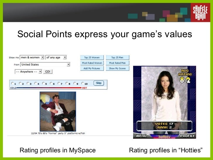 """Social Points express your game's values Rating profiles in MySpace Rating profiles in """"Hotties"""""""