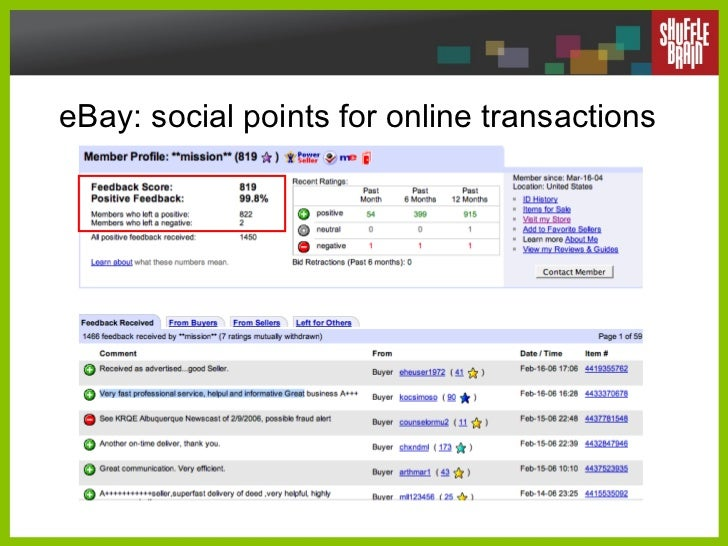 eBay: social points for online transactions