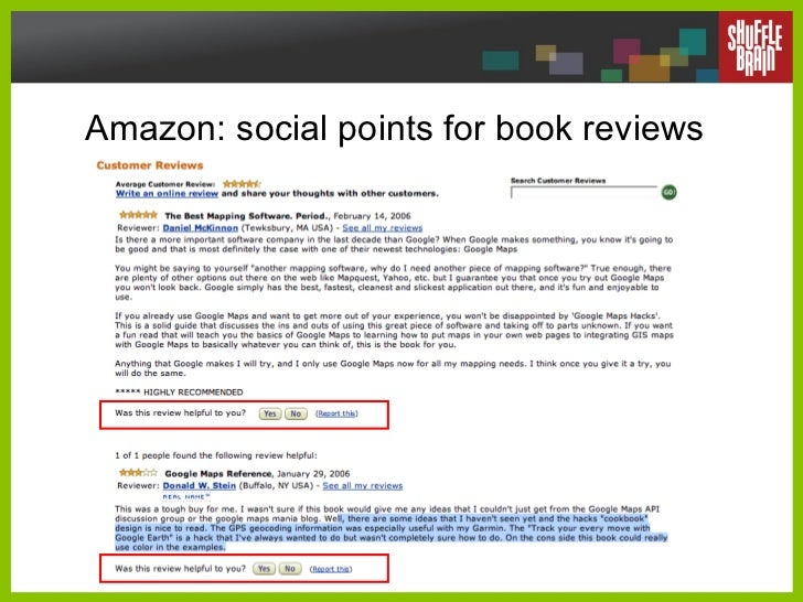Amazon: social points for book reviews