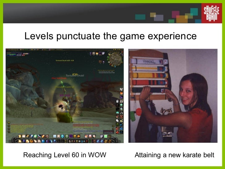 Levels punctuate the game experience Reaching Level 60 in WOW Attaining a new karate belt