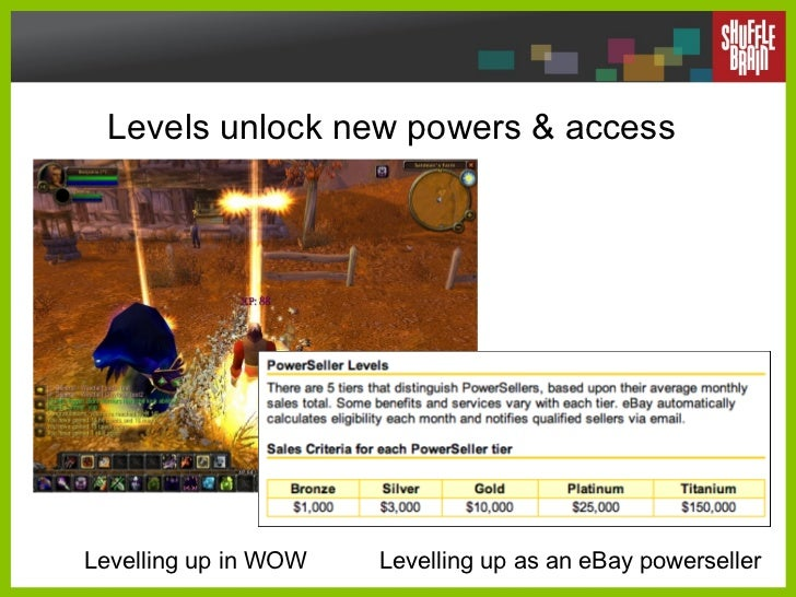 Levels unlock new powers & access Levelling up in WOW Levelling up as an eBay powerseller