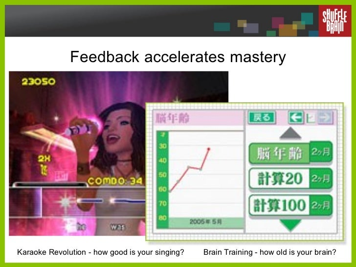 Feedback accelerates mastery Karaoke Revolution - how good is your singing? Brain Training - how old is your brain?