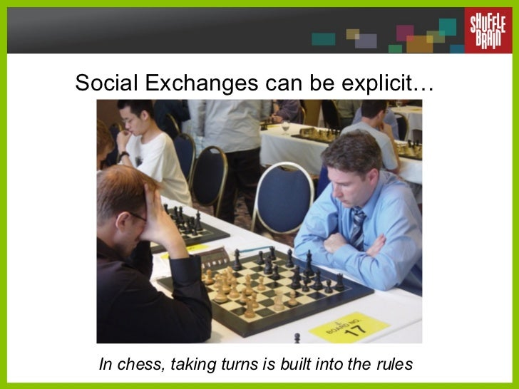 Social Exchanges can be explicit… In chess, taking turns is built into the rules