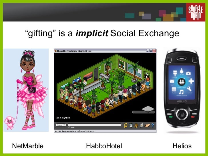 """"""" gifting"""" is a  implicit  Social Exchange NetMarble HabboHotel Helios"""